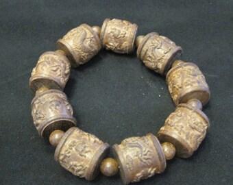 Tibetan Wood Carved Bracelet