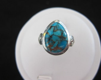 Blue Turquoise Sterling Silver Ring 8.25 (185)