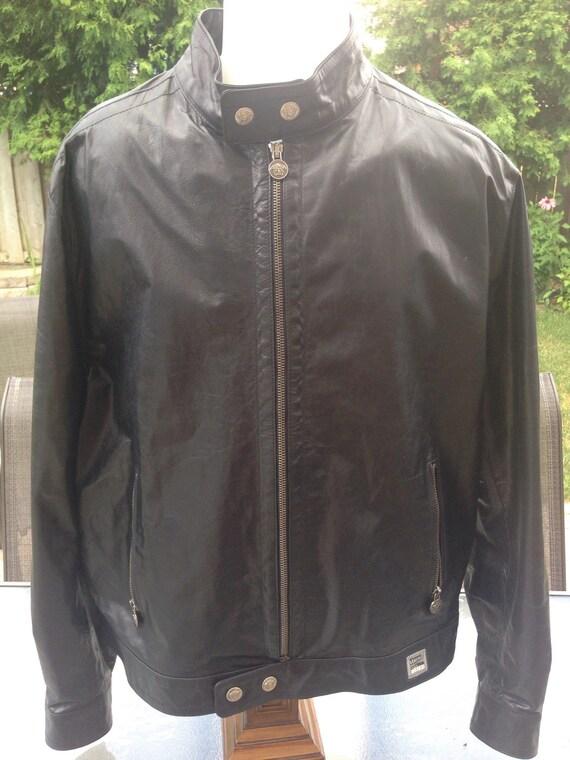 Vintage Authentic Versace Men's Leather Jacket