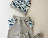 Triangle pants and matching slouch beanie