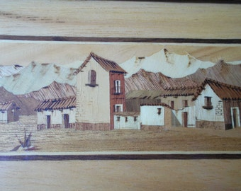 Marquetry Wood Inlay Picture - Village and Mountains