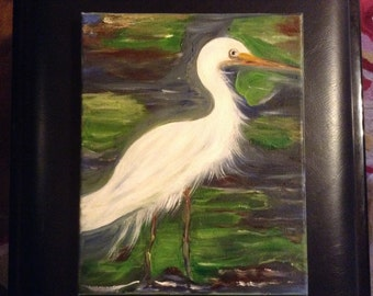 White Egret oil Painting