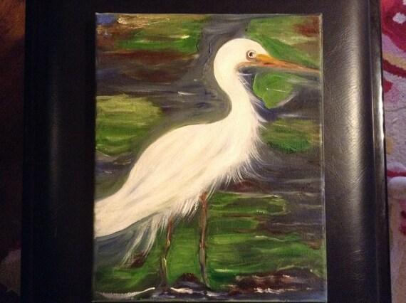 White egret oil painting for White heron paint