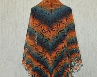 Lace knitted shawl, Orange Brown Green lace knitted shawl, Lace knit wrap, Knitted triangular shawl, lacy shawl