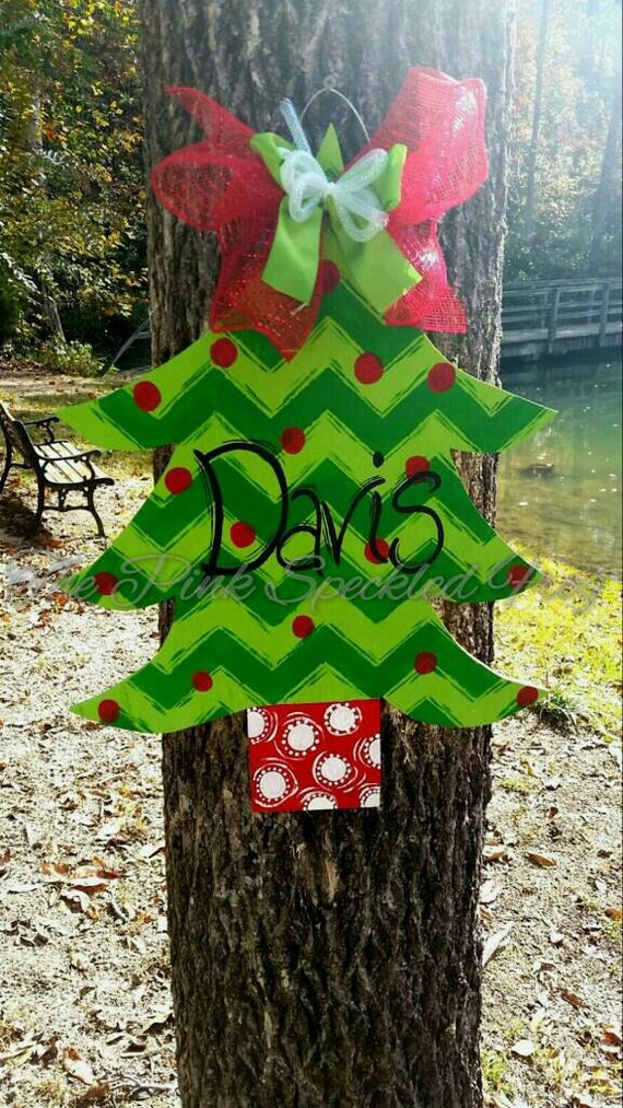 Items similar to christmas tree door hanger on etsy for Christmas tree items list