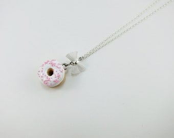 Necklace - White / Pink Donut   Mini  