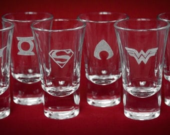 DC / Justice League themed Shot glasses. Bespoke engraving.