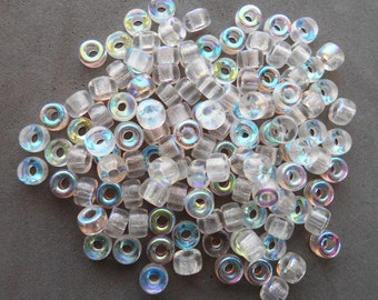 50 6mm Czech Crystal AB glass pony roller beads, large hole crow beads, C9650