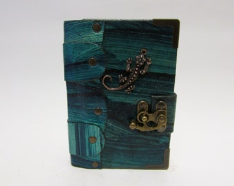 Leather journal notebook with Lizard emblem