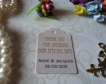 shimmer pearl tags Thank You for sharing this special day Tags, Custom Wedding Tags - Set of 25 to 300 pieces Mini tag