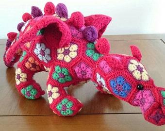 Dragon Crochet African Flower Motif Stuffed Handmade Toy