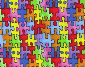 AUTISM AWARENESS Fabric Bright Rainbow Puzzle Piece Fabric Red Orange Yellow Blue 100% Cotton Quilting Apparel Fabric t2/21
