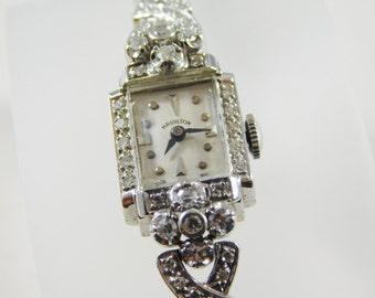 Ladies 14kt White Gold Antique Hamilton Diamond Watch