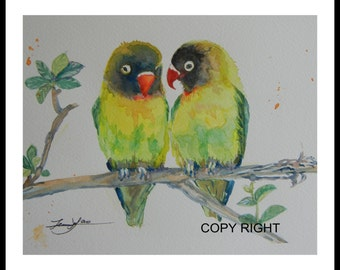 "Original Water color painting Printing, Green Parrot , 1607276p, With Mat 10""x8"", open area 8""x61/4"""