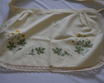 Vintage 1950's - Children's Embroidered Linen Apron With Yellow Flowers