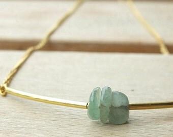 Necklace, aventurine gemstones