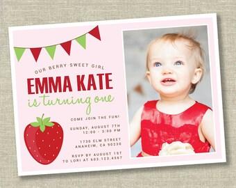 Strawberry birthday invitation, pink strawberry invitation, red strawberry invitation, first birthday invitation, strawberry first birthday