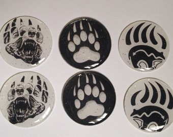Black and White Paw print cabs- glitter