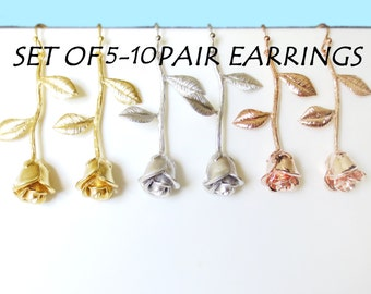 Set of 5-10, Gold, Silver, Rose gold, Rose, Earrings, Rose, Jewelry, Bridesmaid, Wedding, Bridal, Jewelry, Sets, Gift, Accessories, Jewelry