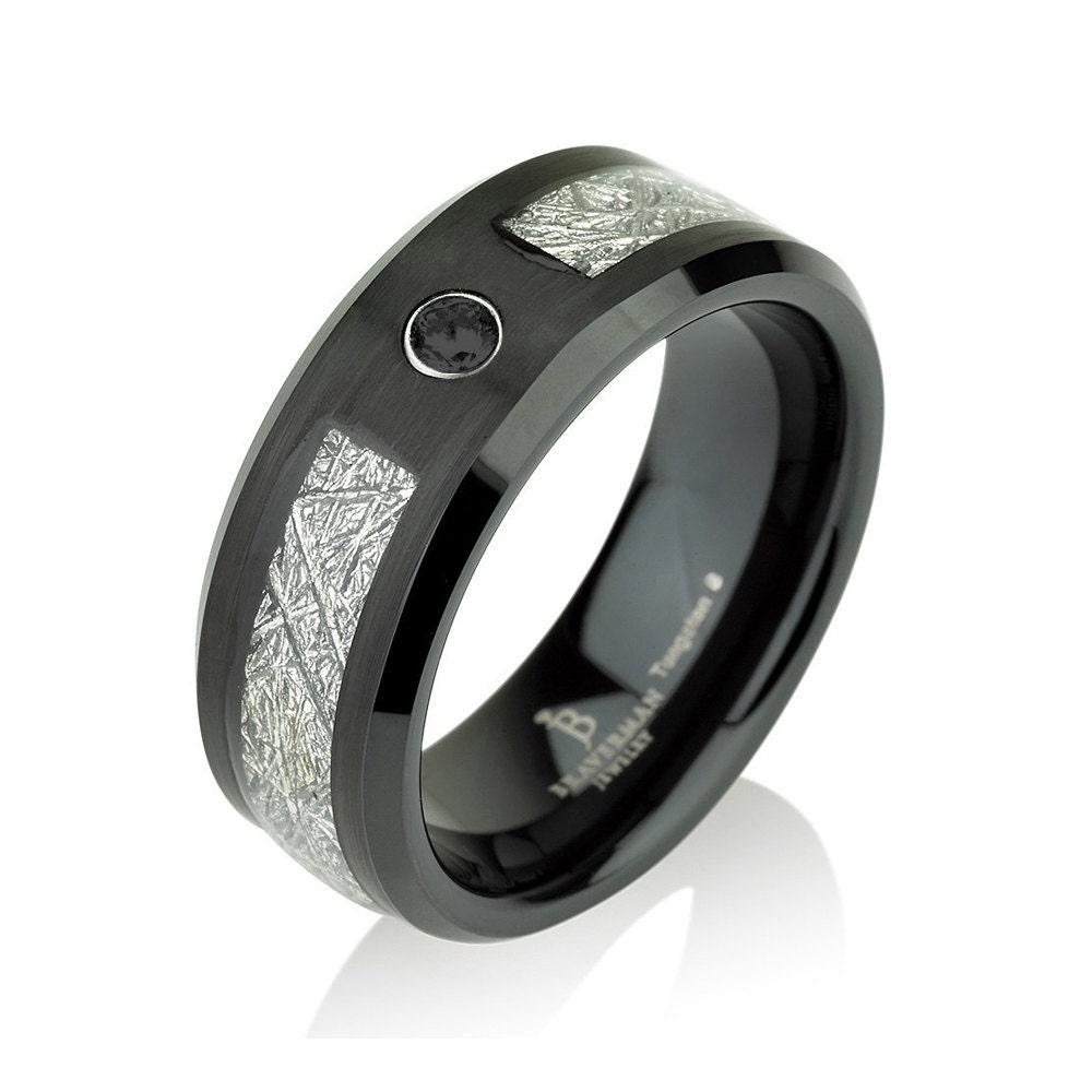 black mens meteorite wedding band black by