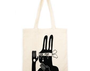 YUK FUN Kung Fu Bunny screenprinted tote bag, illustrated tote, rabbit tote bag, ninja illustration, animal tote bag, fun shopping bag