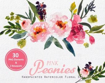 Digital Clipart- Watercolor Flower Clipart, peonies Clip art, Floral Bouquet Clipart, wedding flowers clip art- Pink Peonies