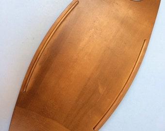 Vintage Mid Century Canadian Baribocraft Maple Hardwood Wood Cheese Serving Board tray