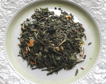 Novena Sisters Organic Green Tea: floral blossoms with a twist of cardamom