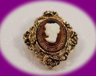 Vintage Cameo Brooch Gold Tone Fillegre Carmel Lucite  Lady Cameo Vintage Jewelry Vintage Cameo Rhinestone Cameo