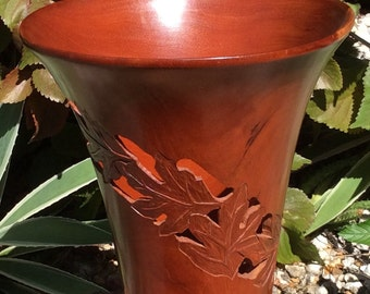 Carved mahogany vase