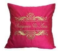 Fuschia Pink Monogram Pillow, Embroidered Monogram Pillow, Mr Mrs Pillows, Wedding Pillow, Customized Gift, Initials Pillow
