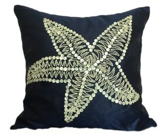 Starfish Pillow Nautical Blue Pillow Accent Couch Sofa Pillow Coastal Starfish Pillow Dark Blue Nautical Pillow Blue Starfish Pillow