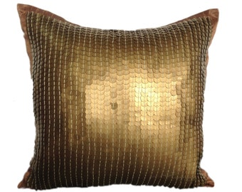 Gold Sequins Pillow Cover Gold Sequinned Decorative Pillow Cover Gold Accent Pillow Sizes 14x14 16x16 18x18 20x20 22x22