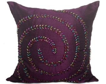 Deep Purple Silk Pillow , Purple Pillow Cover, Purple Beaded Pillow  16x16 Purple accent pillow Purple Contemporary Pillow