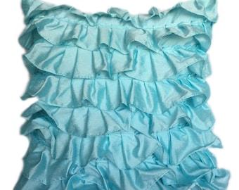 Aqua Blue Ruffles Pillow Cover Ruffle Euro Sham Cover Solid Aqua Blue Texture Pillow 14x14 16x16 18x18 20x20 22x22 24x24 26x26