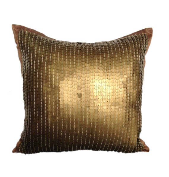 Decorative Pillows With Sequins : Gold Sequins Pillow Cover Gold Sequinned Decorative Pillow