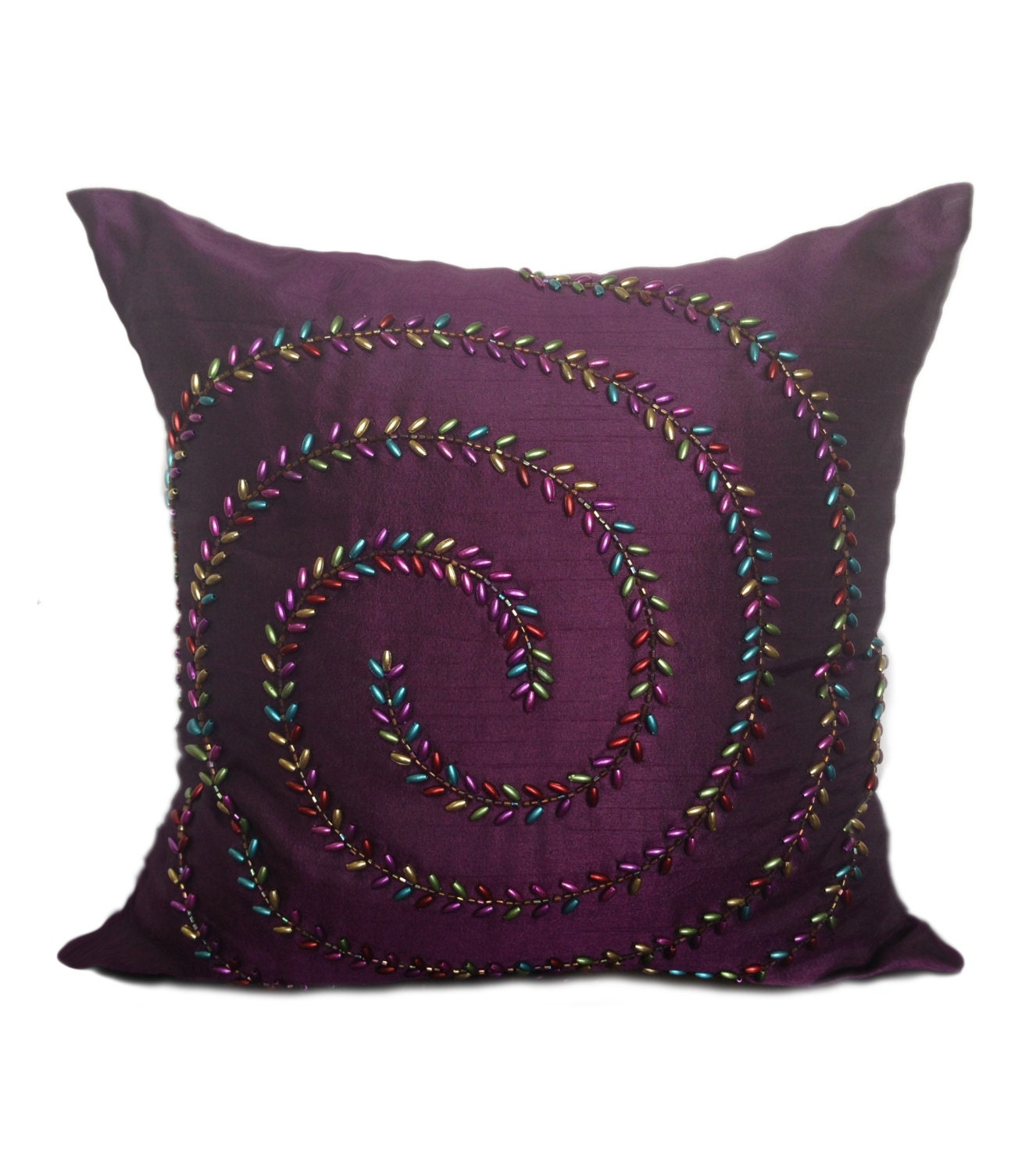 Purple Decorative Pillow : Deep Purple Decorative Pillow Cover Beaded With Metallic Look