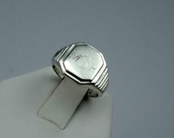 """Vintage """"MSR"""" Signet Solid Sterling Silver Ring  #MSRSIG-SR"""