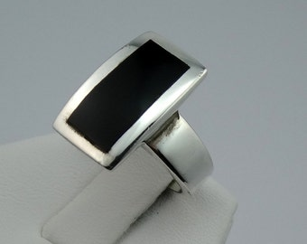Vintage Black Onyx and Sterling Silver Ring  #RECONYX-SR1