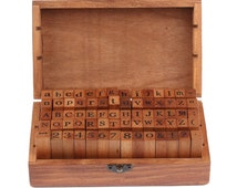 70pcs Upright Type Alphabet Number Symbol Retro Rubber Stamps with Wood Box - Letter Stamps - Diary Stamps T09
