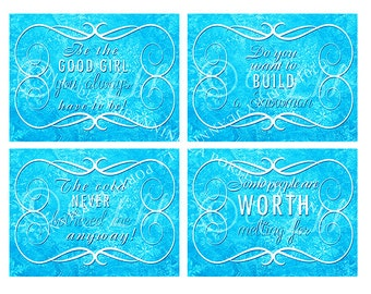 Custom designed FROZEN BIRTHDAY PARTY fun signs to print.