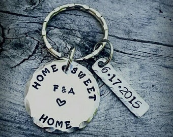 Home Sweet Home - New Homeowners Gift - Personalized - House Warming Gift - New House Keychain - Couples Keychain - Metal Stamped