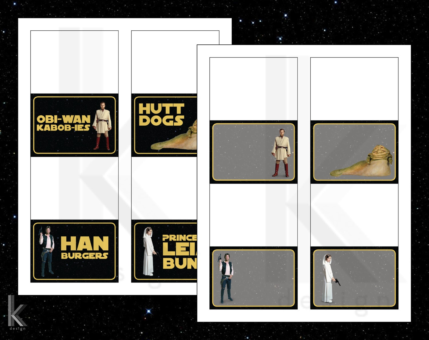 Star Wars Themed Party Food Label Tent Cards Printable File