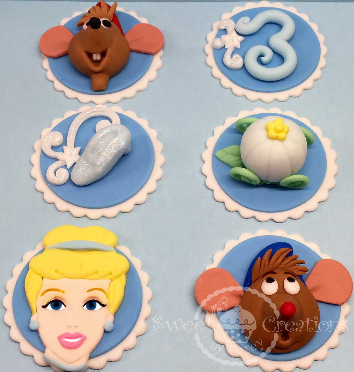 Fondant princess Cinderella cupcake toppers