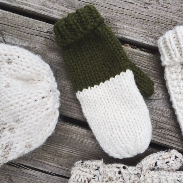 Knitting Pattern For Fold Over Mittens : Handmade Two Tone Color Block Fold Over Cuff Mittens cream