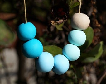 Polymer Clay Bead Necklace - Cool Mint Blue