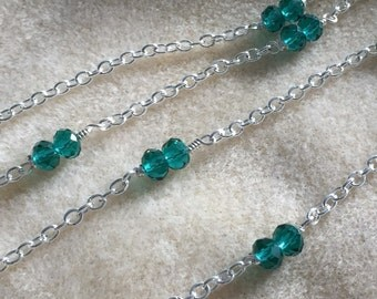 Pressed Jade Glass Chain Necklace
