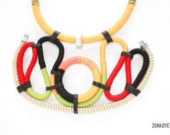 YARAH by zena.dyete tribal thread and hardware ethnic necklace, statement, bib, colourblock, unique, handmade warpped, yarn, tube choker