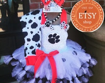 3 piece - Dalmation Marshall petticoat TuTu dress with OTT Bow & Necklace - Costume -  __ size 12months - 5T by Charming Designs