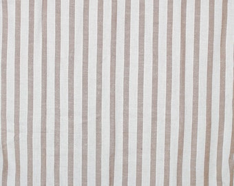 Vintage Linen stripped fabric natural and chocolate brown